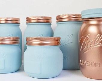 Duck Egg Blue Mason Ball - Kilner Jars - Vase - Tea Coffee Sugar - Makeup Organisation