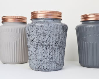 Grey & Marble Vintage Tea Coffee and Sugar canisters - Kilner Jars