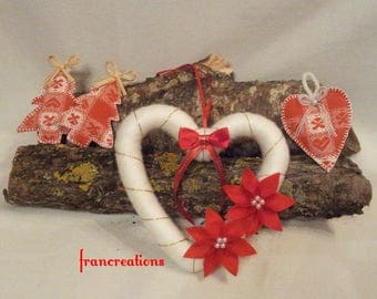 Wool Christmas heart Garland