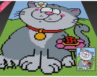 Spring Kitten crochet blanket pattern; c2c, cross stitch; graph; pdf download; no written counts or row-by-row instructions
