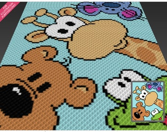 Four Friends crochet blanket pattern; c2c, cross stitch; graph; pdf download; no written counts or row-by-row instructions