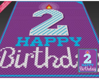 Happy Birthday 2 crochet blanket pattern; knitting, cross stitch graph; pdf download; no written counts or row-by-row instructions