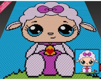 Fluffy Lamb crochet blanket pattern; c2c, cross stitch; graph; pdf download; no written counts or row-by-row instructions