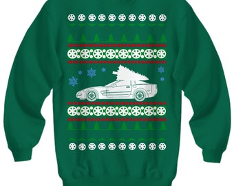 Corvette C5 vette Ugly Christmas Sweater LS motor Sweatshirt  holidays drag racing american iron hot rod