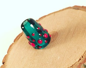 Teal and red lampwork bead