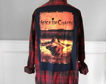 Alice In Chains  flannel tee Alice In Chains  DIRT tshirt Vintage Concert new red plaid brushed cotton flannel shirt Tshirts grunge Tshirts