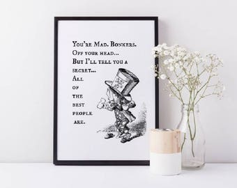 Framed Alice In Wonderland Wall Art Print | Mad Hatter Wall Art | You're Mad, We Are All Mad Here | Wall Decor | FREE UK SHIPPING |