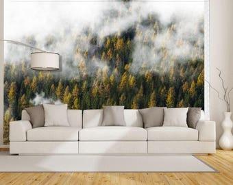 Pine forest wallpaper, foggy mountain wallpaper, pine forest foggy, mountain foggy, mountains wall mural, foggy mountain wall mural, foggy