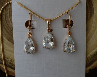 """Set of """"Adele"""",bridal Jewelry set Crystal Earrings Gold Bridal Earrings Set Crystal Wedding Necklace and Earrings set Bridesmaid jewelry"""