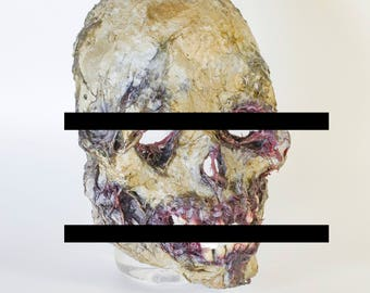 mask of a skull with rotten flesh
