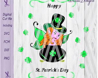 fairy svg, Clover girl svg, St Patricksday svg, Leprechaun svg, Clover svg, shirt svg, Shamrock svg, fcm file, svg pattern, cricut svg