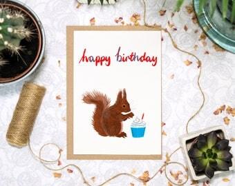 Squirrel Birthday Card   Squirrel Card   Woodland Animal Card   Red Squirrel Card   Grey Squirrel Card   Cute Animal   Animal Birthday Card