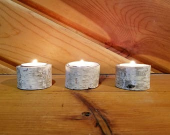 Small White Birch Tea Light Holders, Candle Holder, Rustic Candle Holder, Candleholder, Wood Candle Holder, Home Decor, Holiday Decor