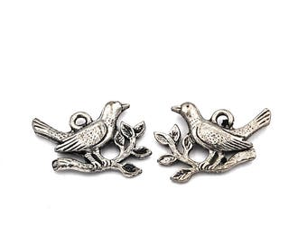 2pc, Dove and Olive Branch Charm, Pewter