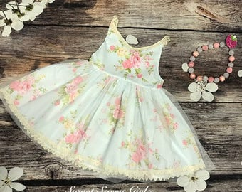 Cute Floral Dress With Tulle Bottom