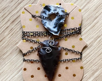 Geode slice and arrow head necklace