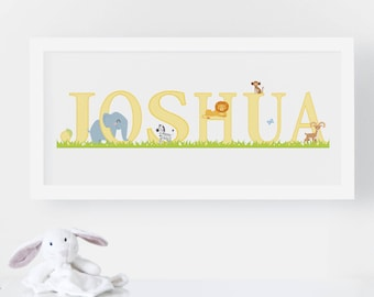 Personalised Name Print - New Baby Gift - Animal Nursery Print - Nursery Decor - Nursery Art - Children's Wall Art