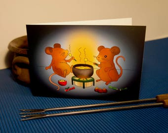 Two mouses eating cheese fondue | Card