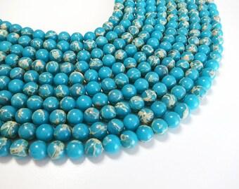 "Blue Sea Sediment Jasper Beads 8mm  Round Imperial Impression Stone Gemstone Loose 15.5"" Full Strand"