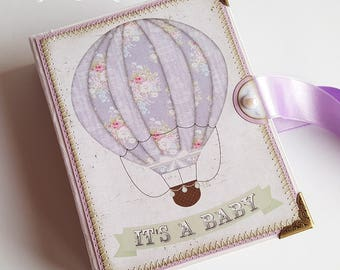 Mini Baby Girl Photo Album, Hot Air Balloon Baby Scrapbook, Mini Baby Girl Photo Book, Baby Girl Brag Book, Accordion Album, New Baby Gift