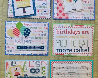 pack of 6 assorted birthday cards, greeting cards, handmade cards, happy birthday cards
