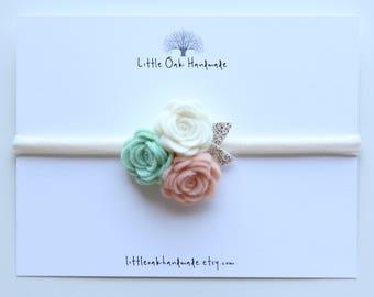 Wool Felt Trio Rose Bouquet Headband - Fresh Mint, Apricot, and Ivory Flower Headband - Baby Headband - Nylon Headband