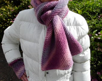 Rosie diagnoally striped scarf, 100% wool, shades of pale light and dark pink and purple stripes, on its own or as part of a set