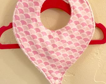 Pacifier Bib, Binky Bib, Pink Scallop