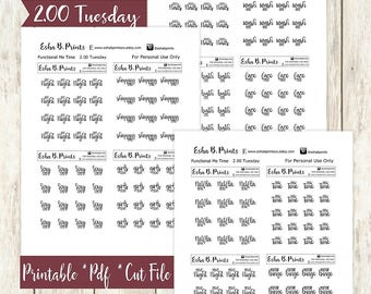 Two Dollar Tuesday Functional Home Printable Planner Stickers/For Use with Erin Condren/Cutfile/Fall Glam September Netflix nails hair bath