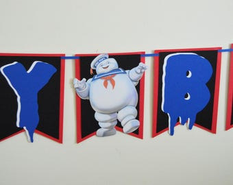 ghostbusters birthday banner - stay puft birthday banner - ghostbusters banner - ghostbusters birthday decorations