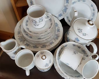 4 Place Vintage Dinner/Tea Set by Mitterteich of Bavaria. Blue/Grey Floral Pattern