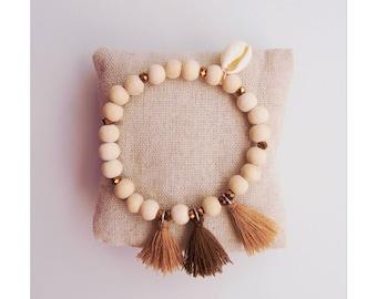 Bracelet wooden beads and glass Bobbles