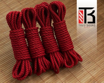 Shibari rope for bondage play and suspension - scarlet red 4 x 8m 6mm linen hemp - 100% natural