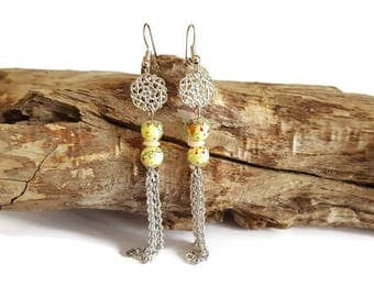 Beads and filigree earrings