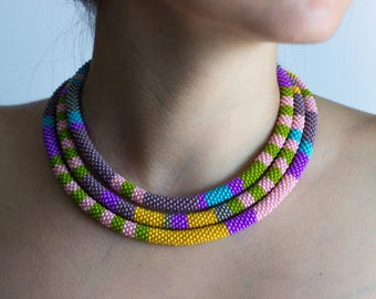Beaded lariat bead crochet necklace long necklace for women birthday gifts for her rope necklace beadwork necklace colorful African jewelry