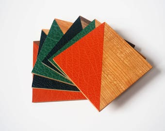 Coasters wood and leather