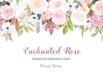 Watercolour Rose Drop Clipart - fall wedding, soft rose graphics, floral clip art, flower drop, floral border, handpainted clipart