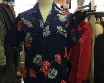 vintage hawaiian shirts 1970's navy blue flower print  made in hawaii