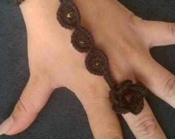 Handmade crochet ring bracelet