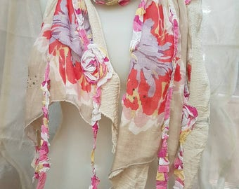 Cotton with printed applique scarf