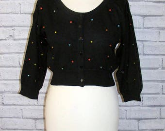 Size 12 vintage 50s style crop cardigan jewelled front 3/4 sleeve black BNWT