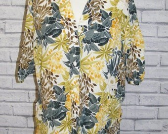 Size 16 vintage 80s deadstock collarless blouse green tropical print BNWT (IC87)