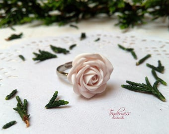 Feminine ring with ivory rose, wedding jewellery, delicate ring