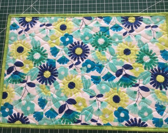 Blue & Lime Green Modern Floral Placemats