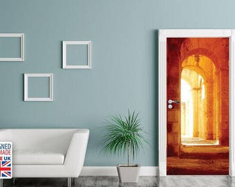 Warm Sunlight Castle Hallway Door Decal/ Ancient Archway Non Permanent Home  Remodel/ Creative Temporary