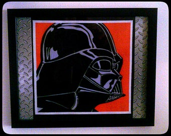 Limited Stock - Star Wars, Darth Vader, Pop Art, Collage, Wall Art, Picture - Framed Fabric with Industrial Metal detail.