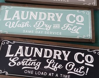 Laundry Co Sign Wash Dry And Fold Sign Magnolia Fixer Upper