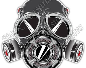 Gas Mask Sketch Biohazard Poison Toxic Car Bumper Vinyl Sticker Decal
