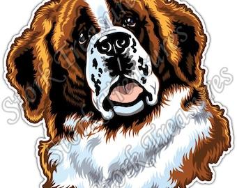 Cute Saint Bernard Dog Face Pet Owner Car Bumper Vinyl Sticker Decal