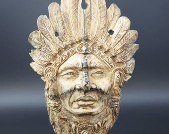 American Indian head - Carved bone